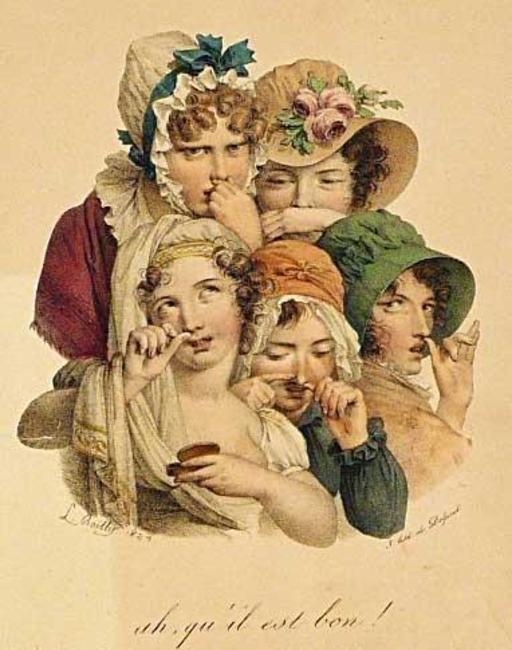 Cinq femmes prisant