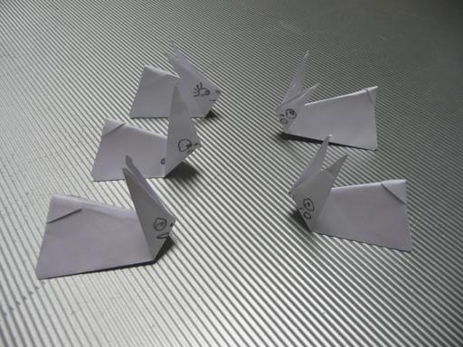 Cinq lapins en origami