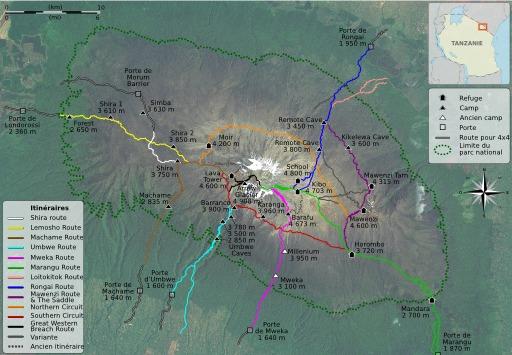 Circuits de randonnée autour du Kilimandjaro