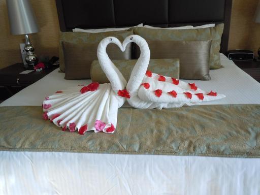 Coeur en serviettes de bain