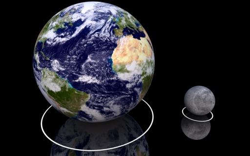 Comparaison de la taille de la terre et de la lune