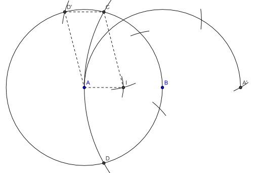 Construction au compas du milieu d'un segment