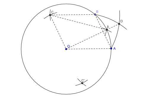 Construction du milieu d'un arc au compas