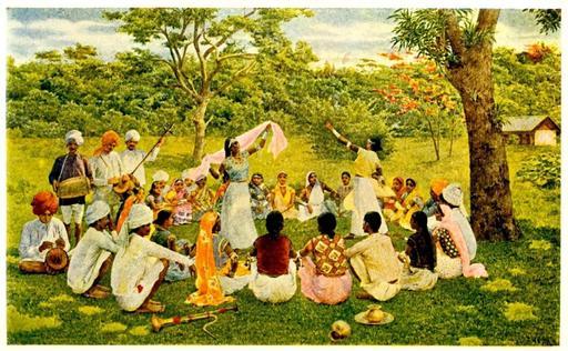 Coolies indiens dans une plantation de cacao