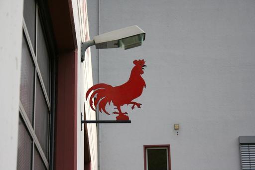Coq rouge de l'enseigne de la caserne des pompiers