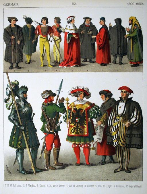 Costumes allemands du début du seizième siècle, par Albert Kretschmer, peintre du théâtre de la Cour Royale de Berlin, et Dr. Carl Rohrbach : 5, électeur ; 6, Dr Martin Luther ; 7, savant.