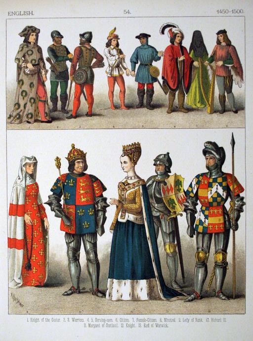Costumes anglais de la fin du quinzième siècle