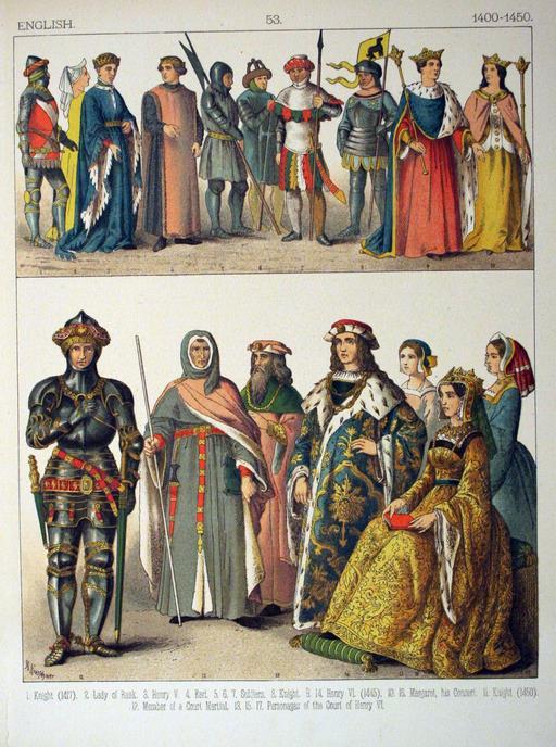 Costumes anglais du début du quinzième siècle