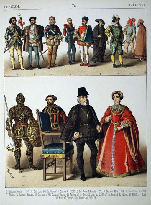 Costumes espagnols du seizième siècle