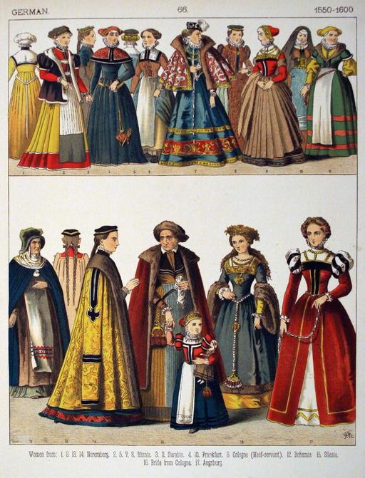 Costumes féminins allemands de la fin du seizième siècle