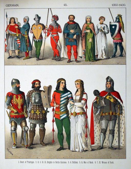 Costumes médiévaux allemands de la seconde moitié du XIVème siècle