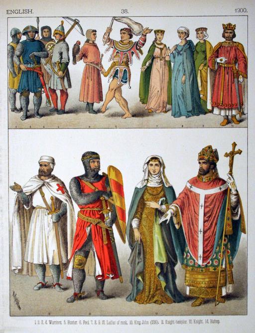 Costumes médiévaux anglais du treizième siècle