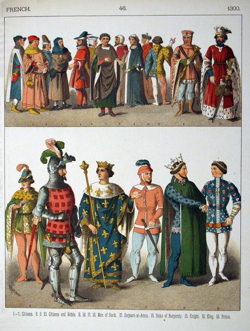 Costumes médiévaux français du quatorzième siècle