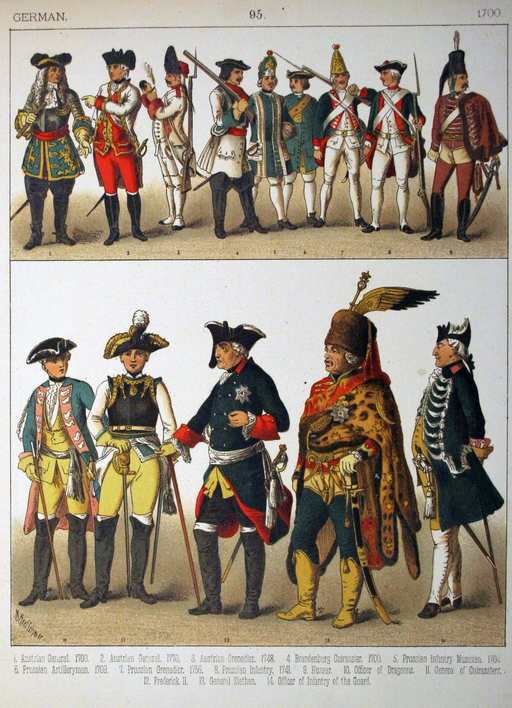 Costumes militaires allemands du dix-huitième siècle