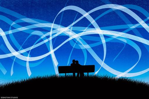 Couple d'amoureux sur un banc