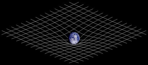 Courbure de l'espace-temps sous le poids de la Terre