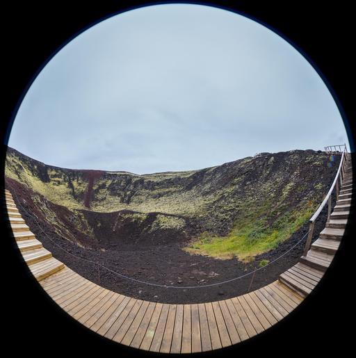 Cratère en Islande, aménagé pour les piétons