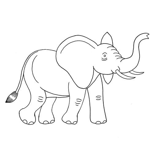 Croquis d'éléphant trompe relevée