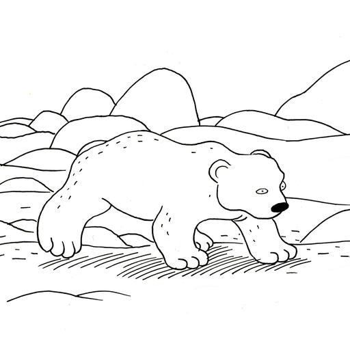 Croquis d'ours polaire sur la glace