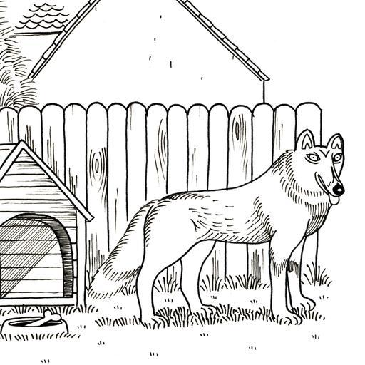Croquis de chien près de sa niche
