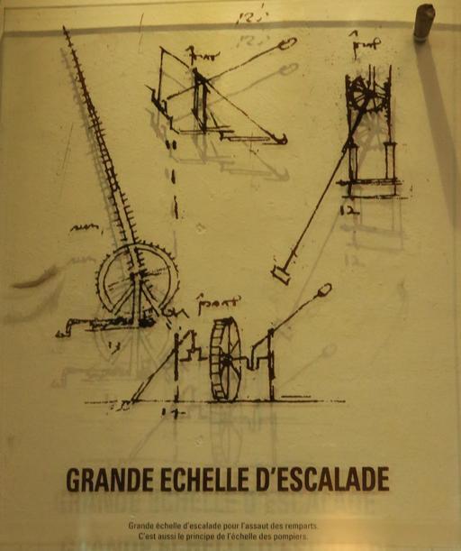 Croquis de l'échelle d'escalade par Léonard de Vinci