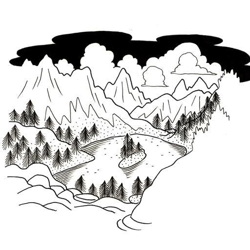 Croquis de lac de montagne