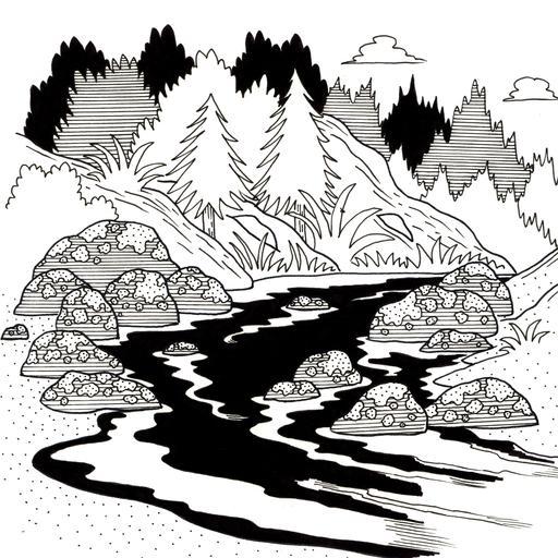 Croquis de rivière en montagne