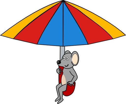 Croquis de souris en parachute