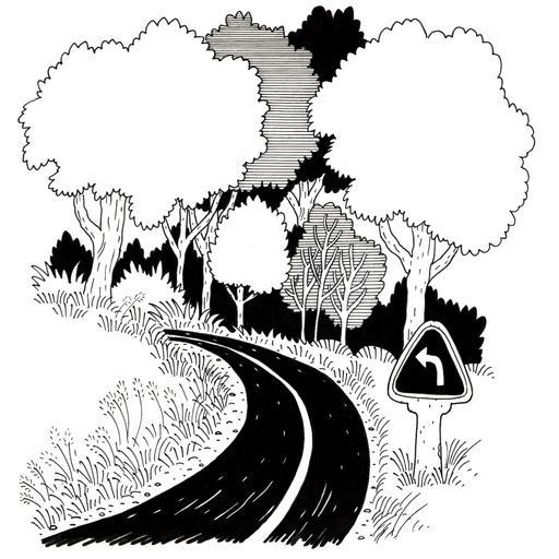 Croquis de virage à gauche en forêt