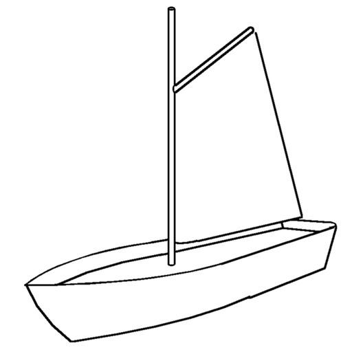 Croquis de voile à corne sur un petit bateau