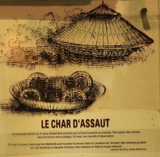 Croquis du char d'assaut par Léonard de Vinci