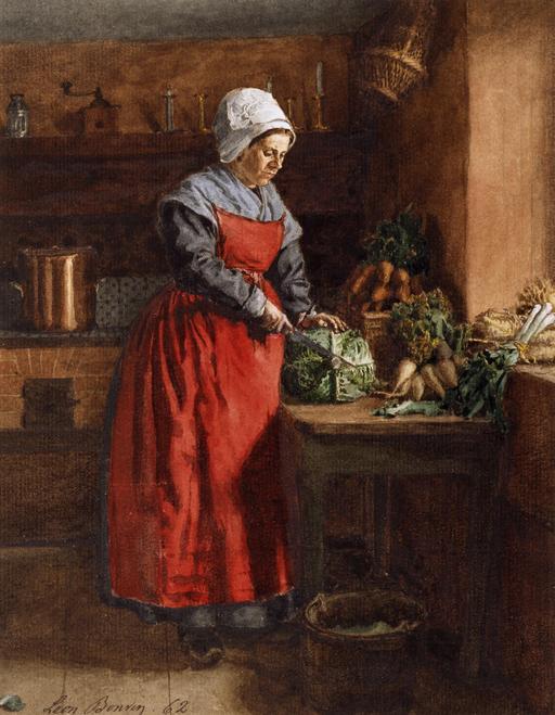 Cuisinière au tablier rouge