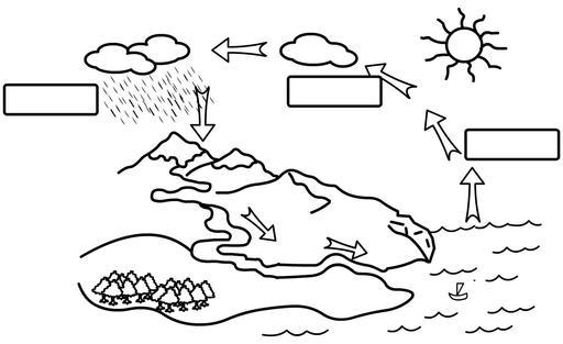 Cycle de l'eau à compléter