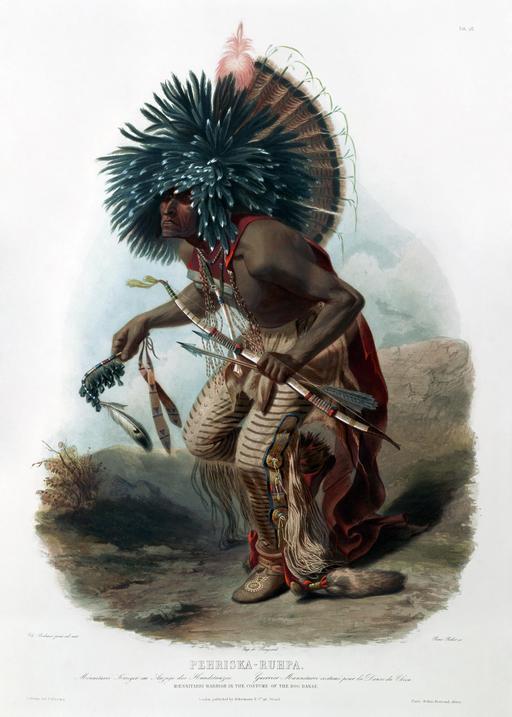 Danse du chien par un guerrier indien