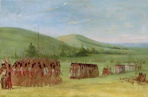 Danses et célébrations avant le jeu de crosse en 1834