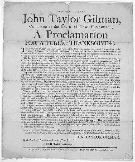 Déclaration de Thanksgiving en 1794