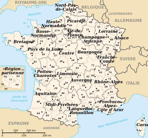 Départements et régions de France métropolitaine