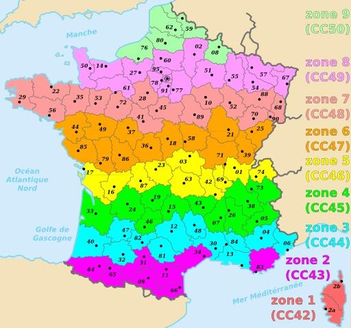 Départements français répartis sur 9 zones Lambert