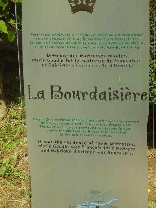 Descriptif du château de La Bourdaisière