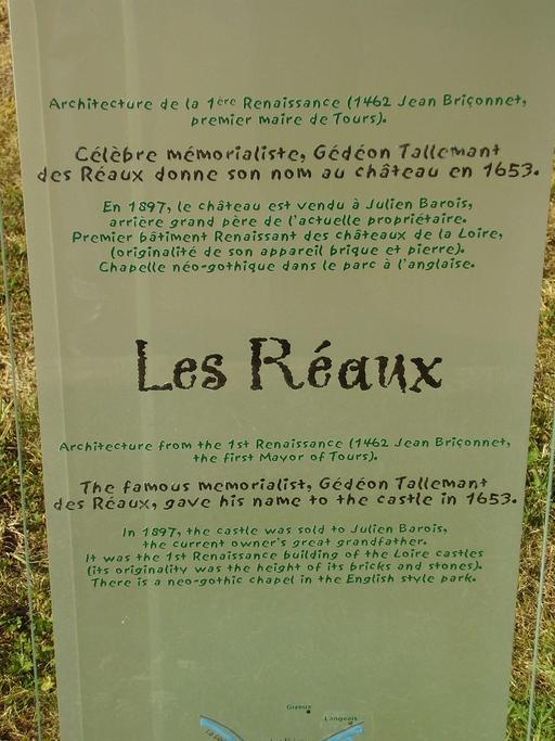 Descriptif du château des Réaux