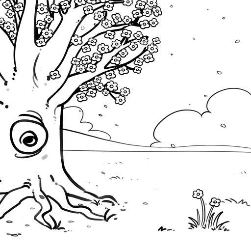 Dessin d'arbre au printemps