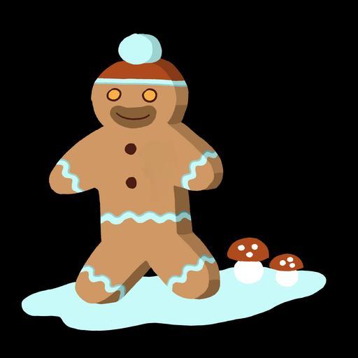 Dessin de bonhomme en pain d'épice de nuit à Noël