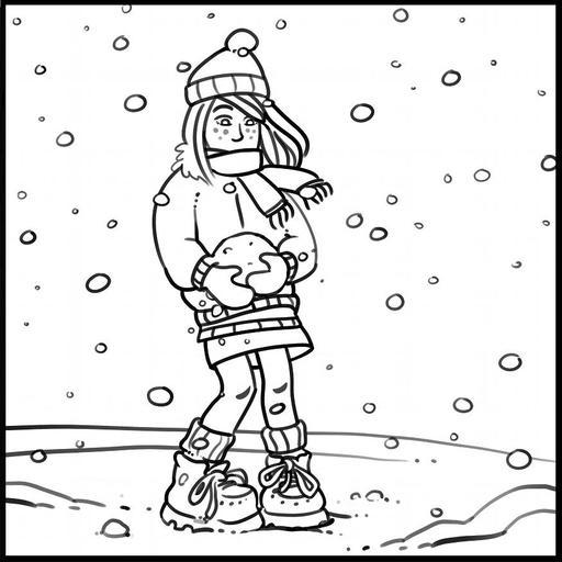 Dessin de Chloé faisant une boule de neige