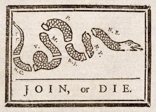 Dessin de presse sur les treize colonies anglaises