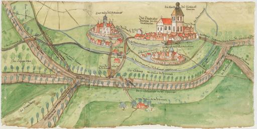 Dessin du château de Vischering en 1580
