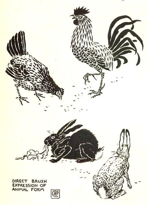 Dessins de coq, poule et lapins