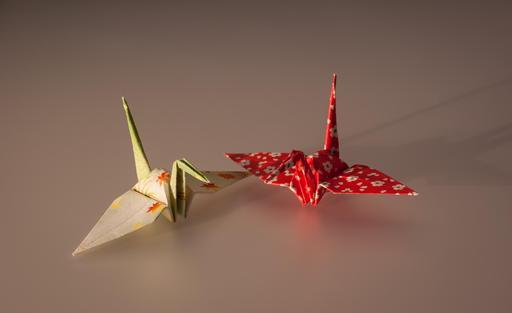 Deux grues en Origami