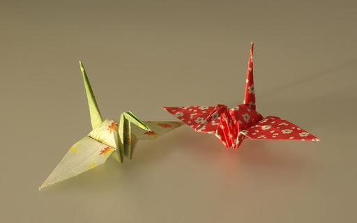 Deux grues japonaises en origami