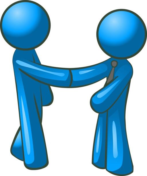Deux hommes bleus se serrant la main