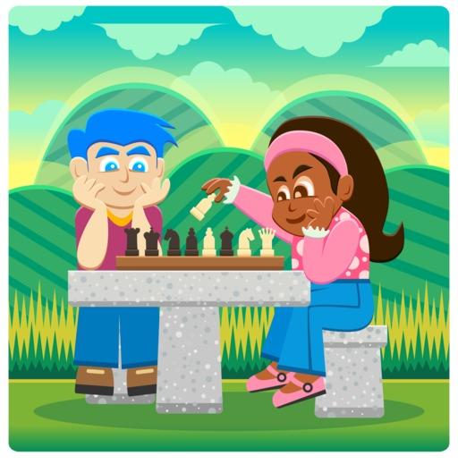 Deux joueurs d'échecs en plein air
